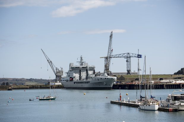 RFA Tidespring alongside at A&P Dockyard, Falmouth after arriving into the UK. Crown Copyright.