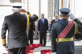 Defence Secretary Sir Michael Fallon and Foreign Secretary Boris Johnson lay wreaths at the Cenotaph to mark Anzac Day.