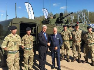 The Secretary of State for Defence, Sir Michael Fallon with Steve Rowbotham, Chief Operating Officer of General Dynamics UK at their site in South Wales.