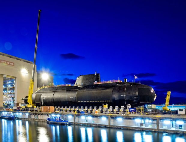 HMS Audacious prepares for launch in Barrow. Copyright BAE Systems