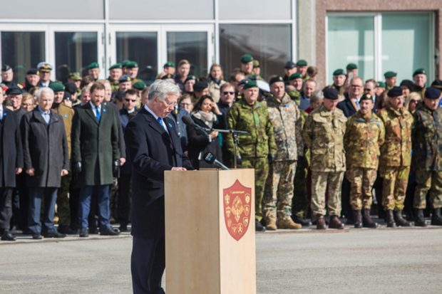 Defence Secretary Sir Michael Fallon today met UK troops deployed with NATO to Estonia. Picture: Estonian Defence Forces.
