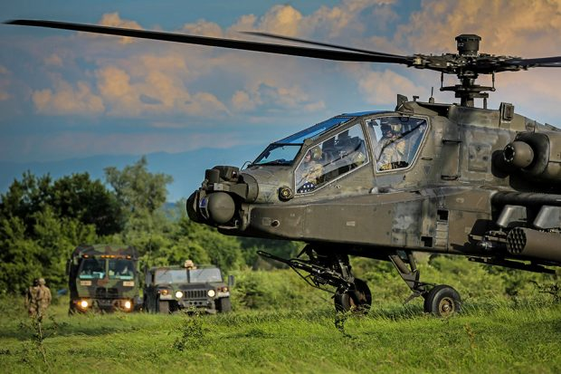 Defence Secretary Sir Michael Fallon announced a six-year £48 million Apache helicopter training contract at the annual Royal United Services Institute (RUSI) Land Warfare Conference.