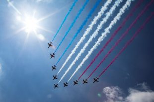 The Red Arrows flew over Buckingham Palace as part of the Queen's Birthday Flypast by the Royal Air Force. Crown Copyright.