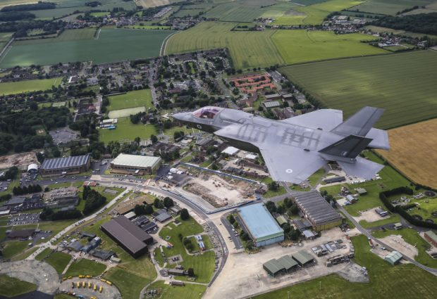 An RAF F-35B flies over RAF Marham. The Defence Secretary announced that the Ministry of Defence has awarded a £135million contract to support the new fast jets at RAF Marham. Crown copyright.