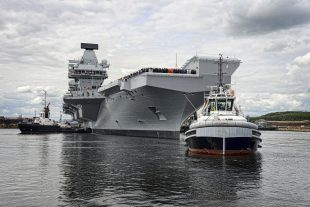 HMS Queen Elizabeth, the first QE Class aircraft carrier, set sail from Rosyth yesterday to commence first stage sea trials off the north-east of Scotland.