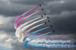 The Red Arrows at the Royal International Air Tattoo 2017, held at RAF Fairford between 14-16th July. Crown Copyright.