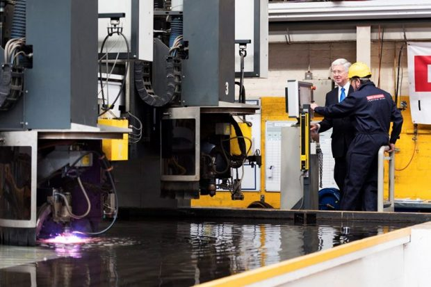 The Defence Secretary cut steel on the first Type 26 frigate, which will be named HMS Glasgow.