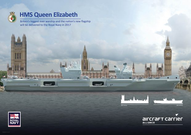 The largest and most powerful warship ever constructed for the Royal Navy weighs in at 65,000 tonnes and is 280 metres in length – that's longer than the Houses of Parliament.