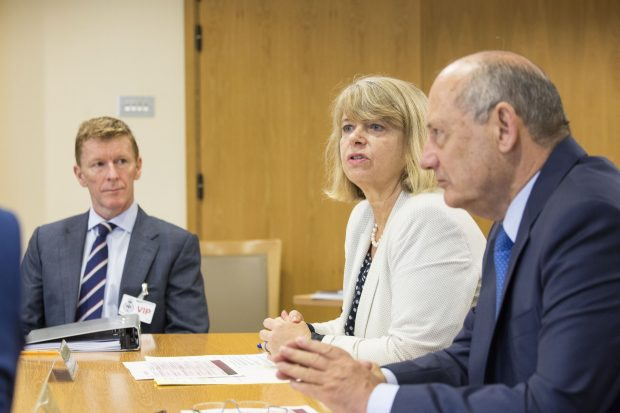 Defence Minister Harriett Baldwin with panel members Major Tim Peake and Ron Dennis at the first meeting of the new Defence External Innovation Advisory Panel. Crown Copyright.