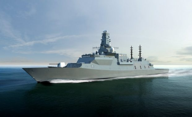 Computer Generated Image of the future Type 26 Global Combat Ship for the Royal Navy. Crown Copyright.
