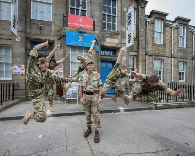 Brigadier Gary Deakin, Commander of Scotland's 51st Infantry Brigade with the cast of 5 Soldiers at the Army@The Fringe venue, East Claremont Street, Edinburgh.