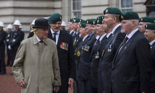 In his final official engagement, HRH The Duke Of Edinburgh met with representatives from the Royal Marines 1664 Challenge as well as veterans and cadets. Crown copyright.