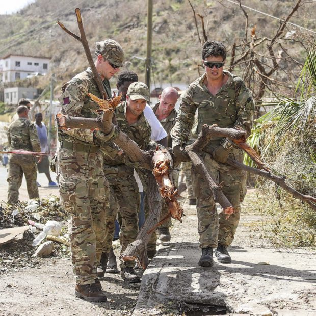 Picture shows Army Commandos delivering aid and providing support to British Virgin Islands communities.