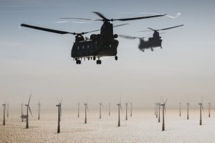 Blowin' In The Wind Two Mk6 Chinooks crewed by 7 Sqn, based out of RAF Odiham, head out over North Sea Wind Farms during a low level insertion to retrieve a downed pilot during a rotary training exercise.