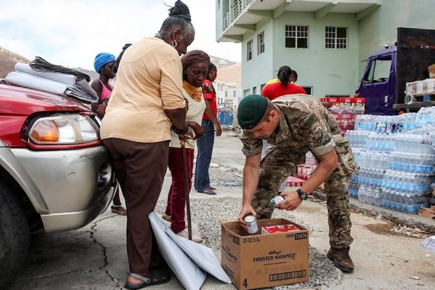 Royal Marines from 40 Commando have been ensuring aid reaches people across the British Virgin Islands before Storm Maria arrives.
