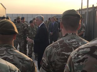 The Defence Secretary meets with UK personnel at Erbil and Taji where they have been involved in training Iraqi Security Forces, Kurdish Forces and Ninewah police. Crown copyright.