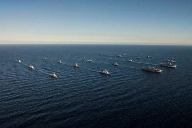 Navy ships participating in NATO Response Force (NRF) exercise Brilliant Mariner 2017 sail in formation in the Mediterranean.