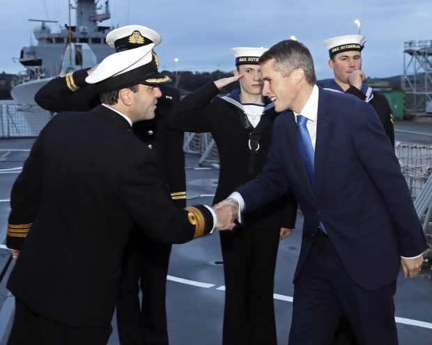 Defence Secretary Gavin Williamson is welcomed aboard HMS Sutherland.