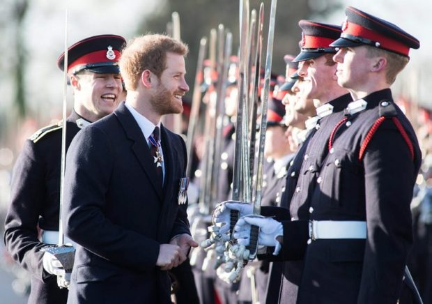 HRH Prince Harry inspecting the Sovereign Parade at Sandhurst.