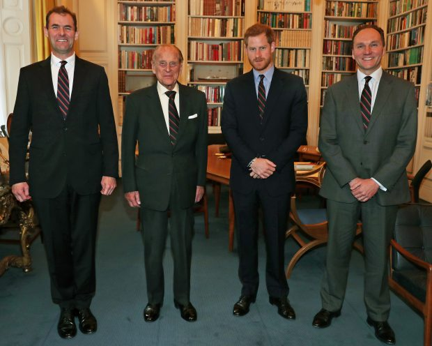 Pictured L-R at Buckingham Palace: Major General Robert Magowan (outgoing Commandant General Royal Marines), His Royal Highness The Duke of Edinburgh (outgoing Captain General Royal Marines), His Royal Highness Prince Harry (incoming Captain General Royal Marines) and Major General Charles Stickland (incoming Commandant General Royal Marines). Crown Copyright.
