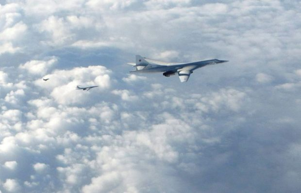 Pictured are two Russian Blackjack Tupolev Tu-160 long-range bombers followed by an RAF Typhoon aircraft scrambled from RAF Lossiemouth.