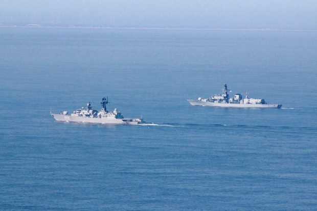 Royal Navy frigate HMS St Albans escorted a Russian warship through the English Channel and Dover Strait. Crown Copyright.