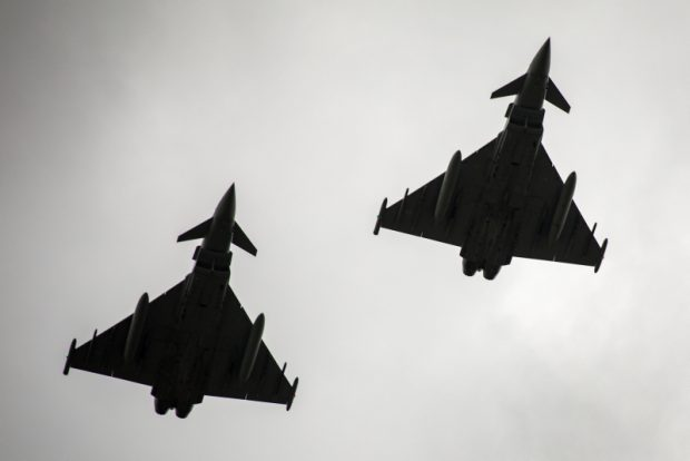Two Royal Air Force Typhoons during their flypast display at the Heroes Day Parade, Buzău.