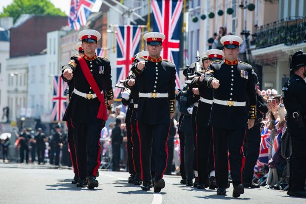 Personnel from the Royal Marines taking part in the Royal wedding. 250 members of the Armed Forces were on parade in Windsor to help celebrate the Royal Wedding of HRH Prince Henry of Wales and Ms Meghan Markle. Crown Copyright.