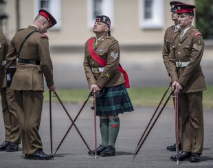 Troops from The Royal Military Academy Sandhurst competing in the annual All Arms and International Pace Sticking Competition.