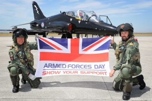 736 NAS Hawk Pilots Lt Nick Weightman (L) and Lt Tom Sawle show their support for Armed Forces Day 2018.