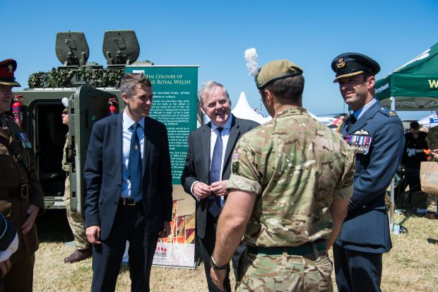 Defence Secretary Gavin Williamson and Defence Minister Guto Bebb talks to soldiers from The Royal Welsh about their role at Armed Forces Day, Llandudno. Crown copyright.
