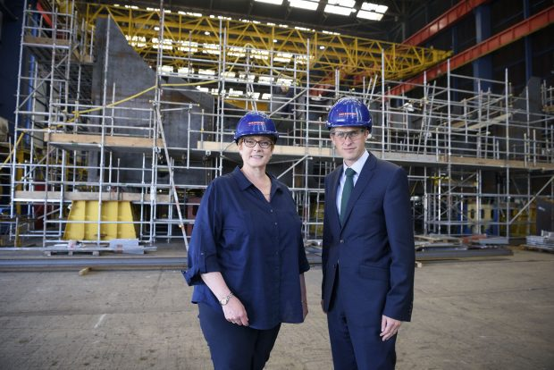 Defence Secretary Gavin Williamson with his Australian counterpart Marise Payne, at the BAE Systems' Clyde Shipyard in Scotland. The Scottish shipyard is building the Royal Navy''s new Type 26 frigates, after Australia chose the British-designed ships for its own Navy last month.