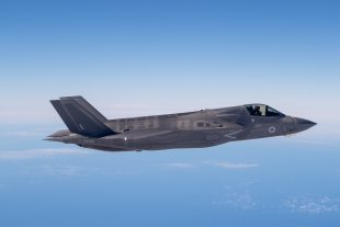 Pictured is one of the second batch of UK's F-35B Lightning jets to be flown to the UK.