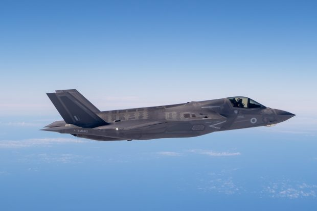 Pictured is one of the second batch of UK's F-35B Lightning jets to be flown to the UK. Crown copyright.