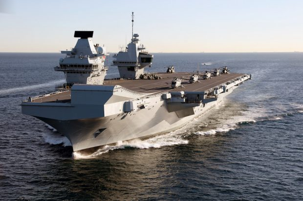 HMS Queen Elizabeth departs for the USA to land fast jets on deck for the very first time.