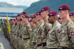 British Troops standing alongside their EUFOR counterparts at the parade marking the opening of Exercise Quick Response in Bosnia.