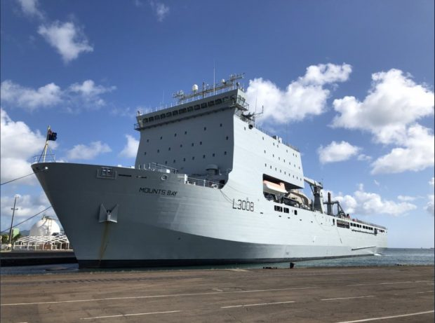 RFA Mounts Bay on standby in the Caribbean as Storm Isaac made its way towards the region.