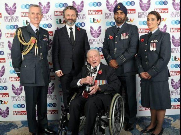 Posing at the Pride of Britain Awards last night (left-to right), Chief of Air Staff ACM Sir Stephen Hillier, actor Michael Sheen, veteran Sqn Ldr Johnny Johnson - the last surviving Dambuster - Wg Cdr Manjeet Ghataora and Flt Lt Kerry Bennett.