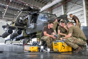 British Army Apache Attack Helicopters are in Oman for Exercise Saif Sareea 3, working alongside other air assets from across defence within Joint Helicopter Command.