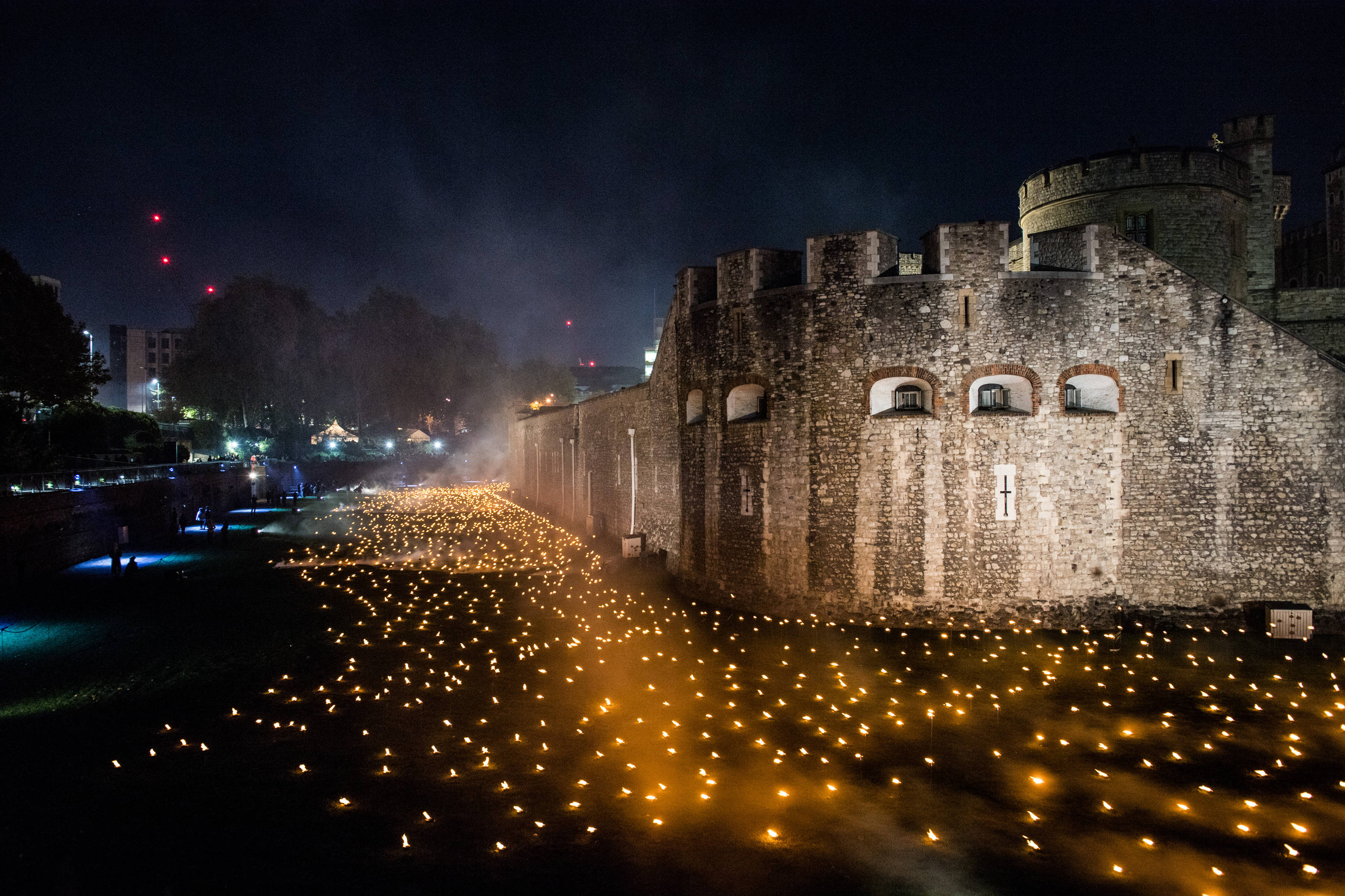 A remembrance display outside the Tower of London
