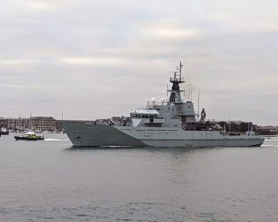 HMS Mersey sailing out of Portsmouth