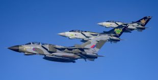 Three decorated RAF Tornados flying in formation