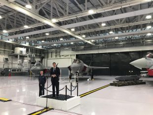 The Defence Secretary at RAF Marham announcing that the UK's F-35 jets are now combat-ready.
