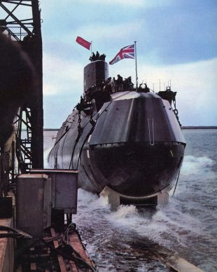The launch of submarine HMS Resolution