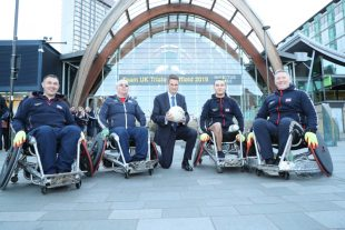 The Defence Secretary with members of the UK's Invictus Games team