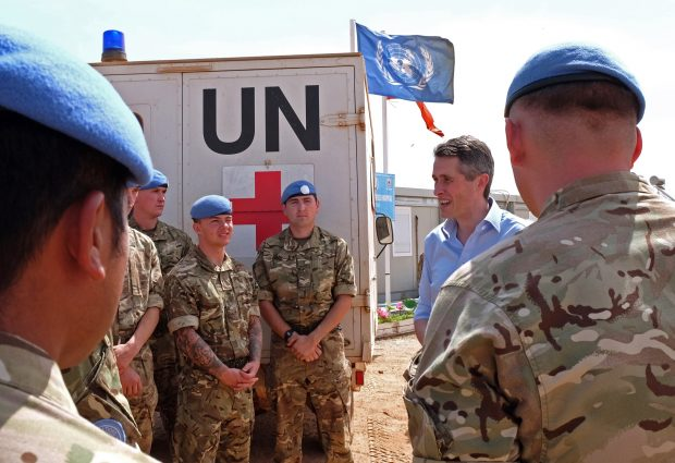 The Secretary of State for Defence, the Rt Hon Gavin Williamson CBE MP, talks to soldiers from the UK Engineer Task Force serving in Bentiu, South Sudan.