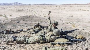 British Paratroopers of 'B' Company, 2nd Battalion The Parachute Regiment, have been working alongside Jordanian troops during Exercise Olive Grove.