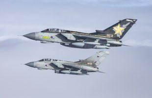 Two RAF Tornados flying close together