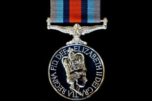 A medal worn without a clasp for service on Operation Shader
