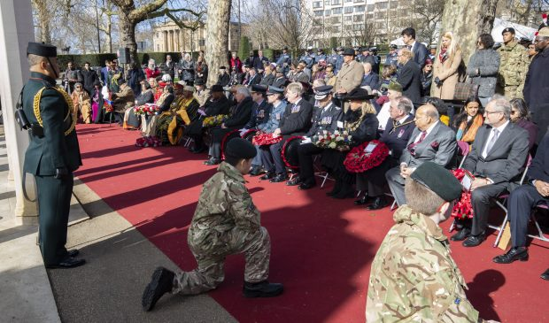 At the Commonwealth Memorial Gates, Constitution Hill, London, wreaths were laid to commemorate the people of the Empire who fought for the British in the two World Wars.
